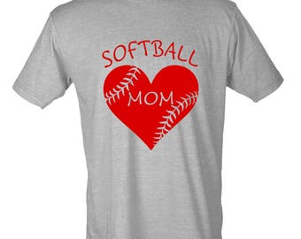 Softball Mom Heart Graphic T-Shirt