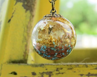 Turquoise sphere necklace, real turquoise and gold necklace, Magical sphere necklace, gemstone resin necklace, terrarium necklace, resin
