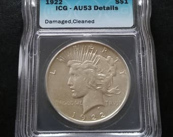 1922 Peace Dollar - AU53 Certified ICG collectible silver coin nice luster - Philadelphia Mint