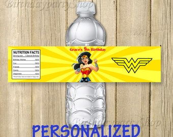 Wonder Woman Water Bottle Label, Wonder Woman Birthday, Personalized, Digital File