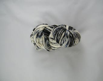 25% Silk - Sport Yarn - Denim Colourway - 75 Percent Blue Faced Leicester - Blue and Black - Handpainted in Canada - 291 yards - 100g - #434