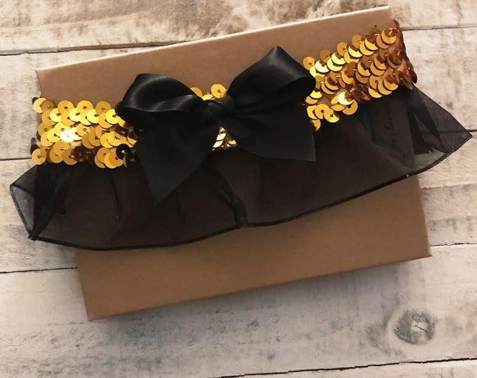 Cheerleading Garter - custom embroidered garter school colors sequin garter
