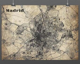 Madrid din A4/DIN A3-print-vintage-style