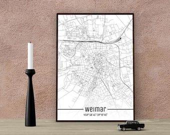 Weimar-Just a map-din A4/A3-Print