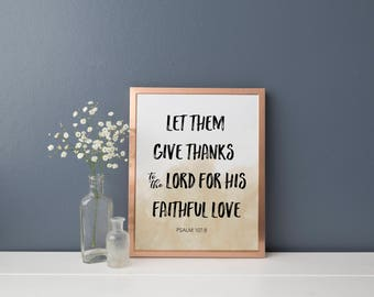 PSALM 107:8 PRINT, Instant Download