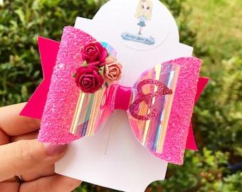 Birthday bow, custom made, girl, glitter, floral, hair bow clip