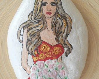 Hand Painted Stones,Home Decor,Painted Rock, Pebble,Acrylic, face portrait
