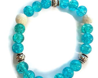 Blue Diffuser Bracelet, Aromatherapy Bracelet, Essential Oil Diffuser Bracelet, Stretchy Bracelet, Beaded Bracelet, Oily Gift, Oil Lovers