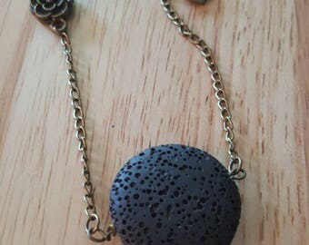 Antique Bronze Diffuser Necklace, Aromatherapy Necklace, Initial Necklace, Lava Stone Jewelry, Personalized Necklace, Oily gift, rose piece