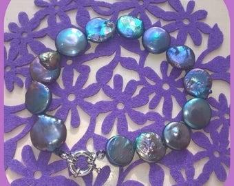 Purple coin fresh water pearl bracelet