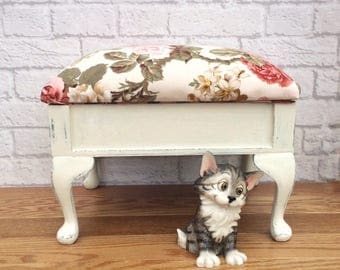 Footstool, Storage Footstool, Upholstered Footstool, Shabby Chic Footstool, Country Decor, Shabby Chic Decor, Gift For Her, Country Roses