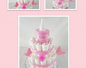 Baby Girl Diaper Cake/Butterfly Diaper Cake