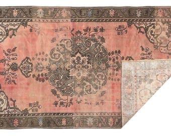 "4'4""x7'4' Vintage  faded oushak traditioanal area Rug, Sivas medallion Rug,   Pink brown mid century farm house rug, Living room kitchen rug"