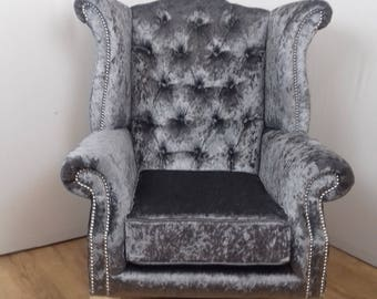 Pewter Crushed Velvet Queen Anne style chair