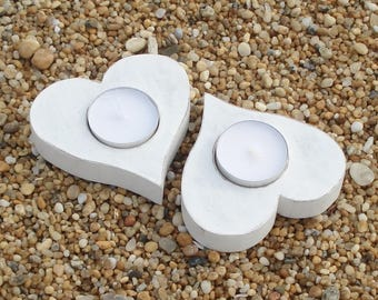 White wooden heart candle holder