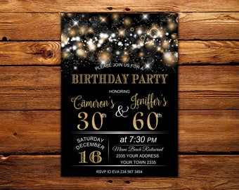 Joint birthday etsy adult joint birthday invitation joint birthday party invitation combined party co birthday stopboris Images