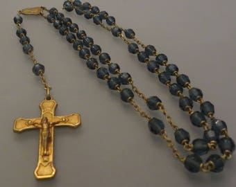 Vintage deep BLUE SAPPHIRE faceted glass crystal & gold tone ROSARY