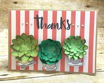 Succulent coffee cups thank you card