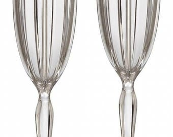 Waterford Crystal Omega Two Fluted Champagne Glasses