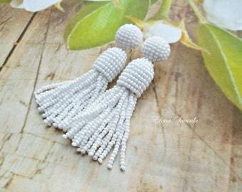 Short-tassel /handmade clip on earrings/ beading dangle/White color beaded tassel/oscar de la renta.Earrings with sterling SILVER stud