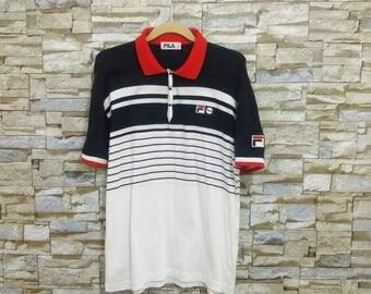 Vintage FILA Shirt Rare Fila Bj Bjorn Boug Striped Polo Shirt Tennis Wear
