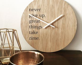 Inspiring wall art clock - motivational quote decal on natural oak face