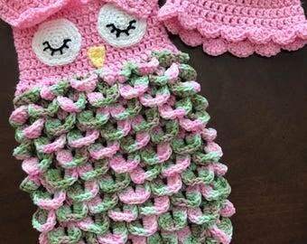 Owl Newborn Wrap, Crochet Newborn Owl Sleep Sack