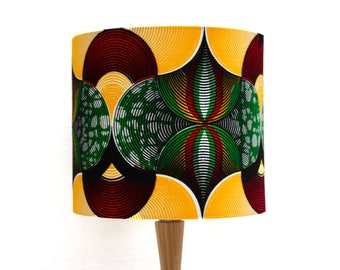 African Ghanaian Wax Print Fabric Lampshade Drum Diameter 20cm Lampshade Red Yellow Green Lamp shade GTP NuStyle Ghana Africa Textiles
