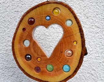 Sun Catcher Heart 19 cm-Oak