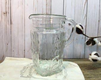Vintage Clear Glass Pitcher/Circle Design/Square Shape/Iced Tea Pitcher/Farmhouse Kitchen
