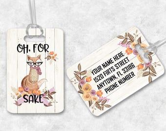 Oh For Fox Sake Luggage Tag, Zero Given Luggage Tag, Fox Bag Tag, Fox Luggage Tag, Girly Bag Tag, Girly Gym Tag, Custom Bag Tag