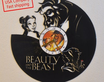 Beauty and the Beast themed Vinyl Album Record Clock made in the > USA < with FREE Shipping!