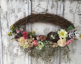 Oval Spring Floral Wreath with a Bird Nest and Bird, Summer Wresth, Door Wreath, Door Decor, Wall Wteath, Fireplace Wreath