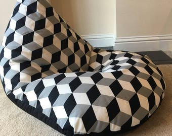 Childrens Kids Block Minecraft Black Grey White Beanbag Gaming Reading Chair