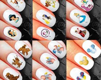 400+ Disney Nail stickers Decals kit 2 brother bear alice jasmine aladdin mickey mouse minnie mouse heads assortment