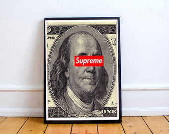 Custom Urban Graffiti Poster, Supreme x Ben Franklin Poster Art, Kaws Style Wall Art, 12 x 18  Livingroom Bedroom Wall Art Bape Style Poster