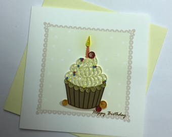 Happy Birthday Cupcake Quilling Greeting Card