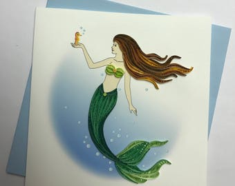 Mermaid Quilling Greeting Card