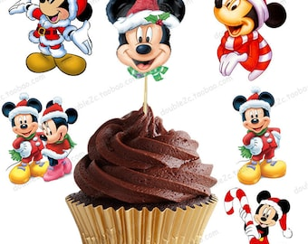 12 Pcs Mickey Christmas Cupcake Toppers/Birthday Party/Christmas Party/Party Decorations