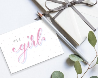 it's a girl - Baby Karte zur Geburt (Querformat)