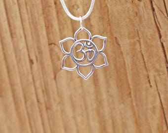 Sterling Silver Lotus Blossom Flower Ohm Om Charm Pendant Yoga Necklace