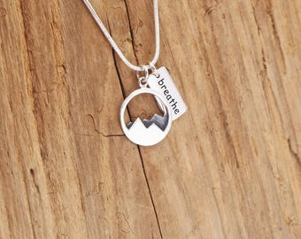 Sterling Silver Mountain Range Breathe Charm Necklace Adventure Travel Camp Ski