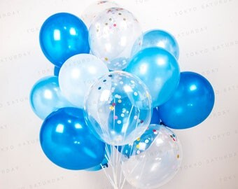 Blue Confetti Balloon Bouquet, Set of 14/20/40 Boys Party, Baby Shower, Wedding, Sky, water-AU Free Shipping