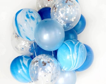 Blue Confetti MarbleBalloon Bouquet, Set of 20/40 Boys Party, Baby Shower, Wedding, Sky, Water - AU Free Shipping