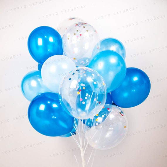 Baby Shower Balloons Free Delivery ~ Blue confetti balloon bouquet set of boys party