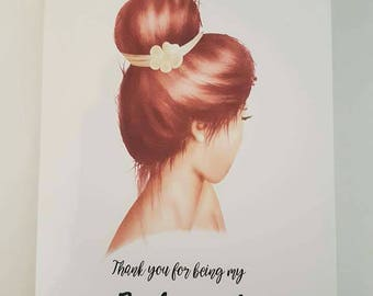 Bridesmaid thank you card, flower girl thank you card, maid of honour thank you card, thank you for being my bridesmaid, personalised card
