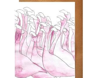 Pink Flamingo Flock Greeting Card