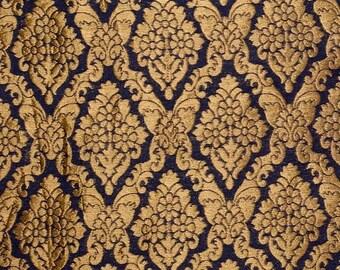 10% Off On Half Yard of Black and Golden Heavy Zari Work Brocade Silk Fabric, Brocade Fabric