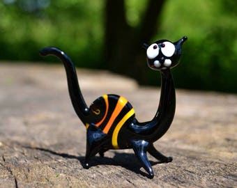 Black Glass cat with orange stripes figurine animal beads collection lover gift paperweight cat cute glass animals character desk animals fa