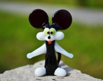 Glass Mickey Mouse figurine mouse animals glass Mickey mouse sculpture glass mouse toy murano mouse animals tiny small mice figure disney